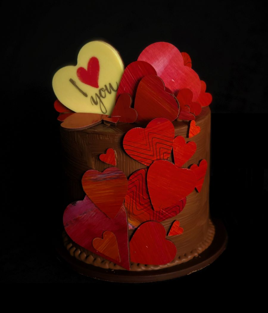 Red Love Heart Smash Cake