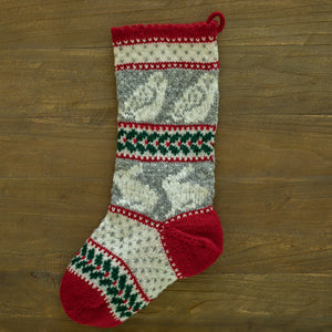 Owl, Hare, and Holly Christmas Stocking