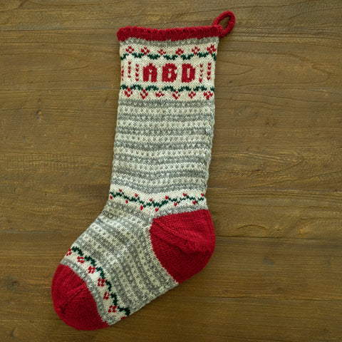 Stripes and Garlands Christmas Stocking