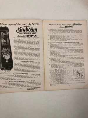 Sunbeam Controlled Heat Automatic Frypan Manual