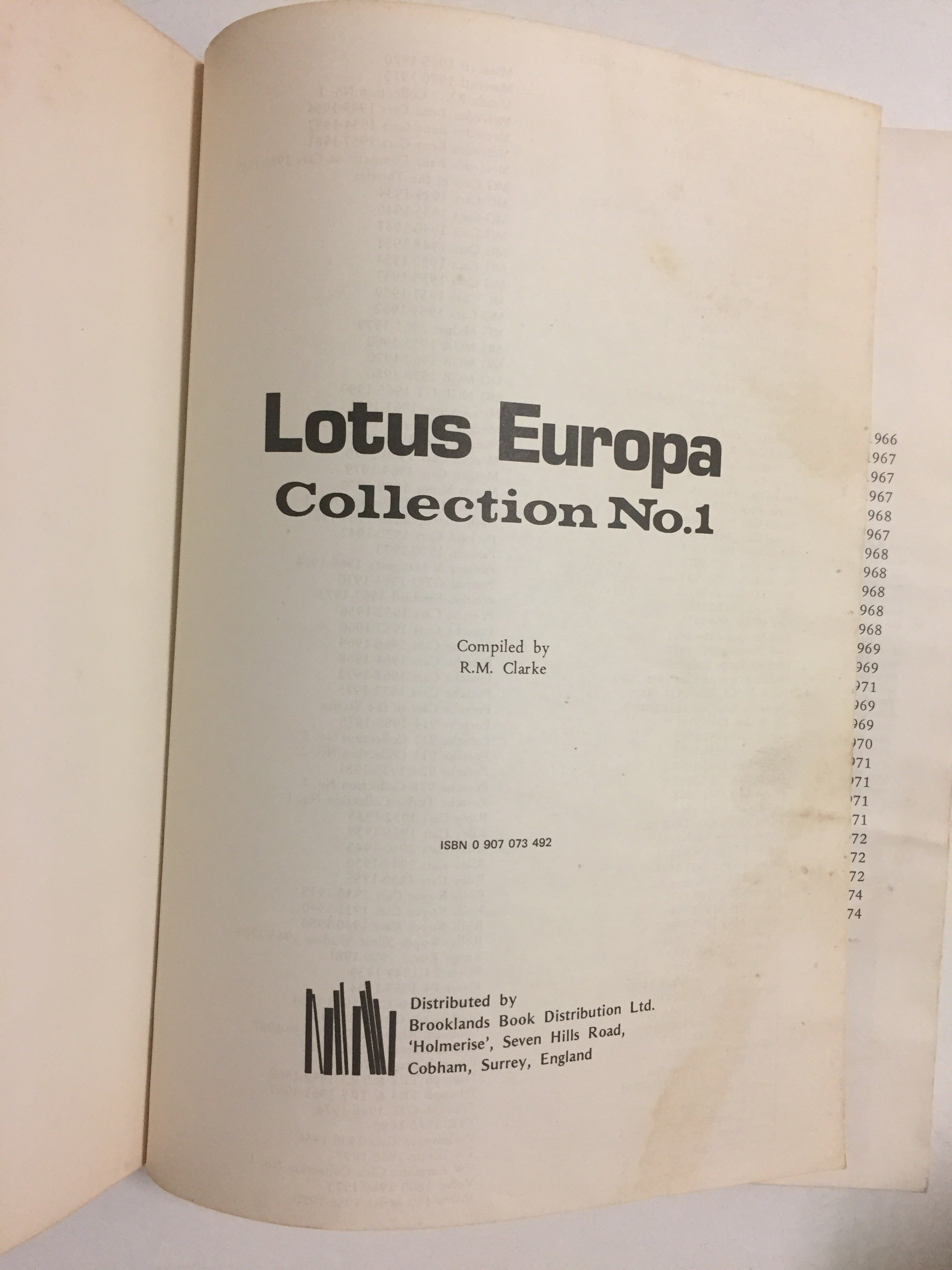 Lotus Europa Collection No. 1 1966-1974 - Slickcatbooks