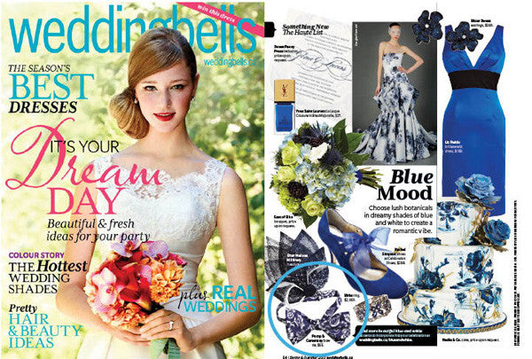 Blue Floral Pomp & Ceremony Bowtie in Wedding Bells Magazine