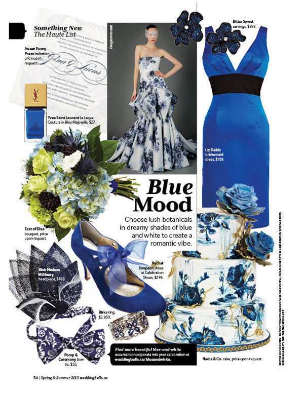 Blue Liberty of London Floral Bowtie in Wedding Bells Magazine