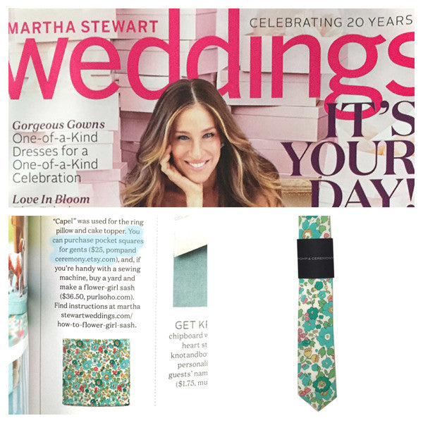Green Liberty of London Capel Pomp & Ceremony necktie in Martha Stewart Weddings.