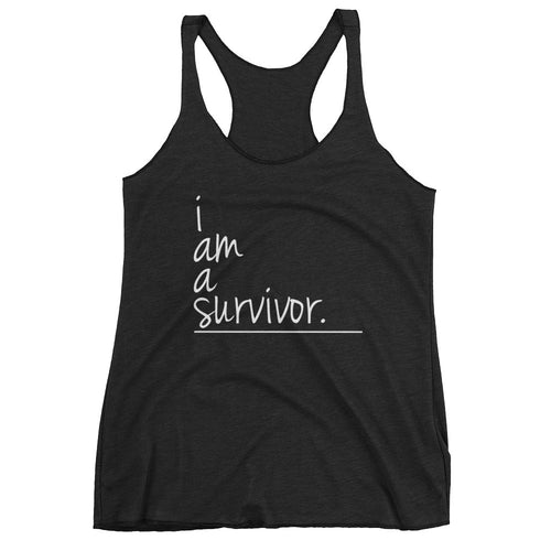 I Am Collection Women's Survivor Triblend Tank, White Text, Multiple Colors