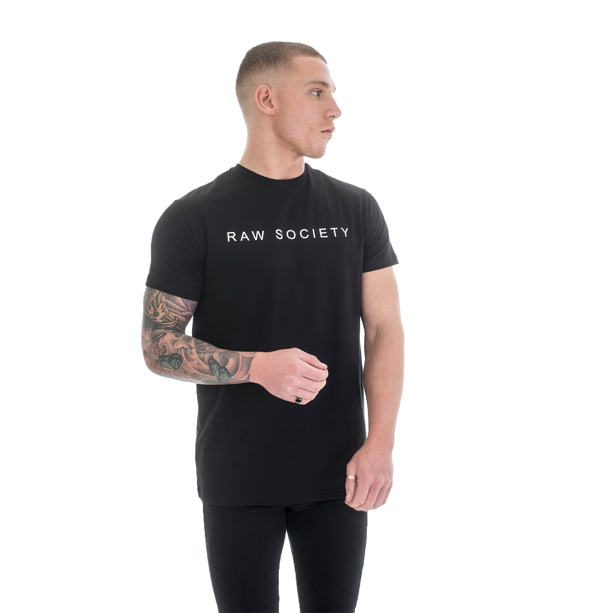 Black T-Shirt - Basic Emboss Collection - Raw Society