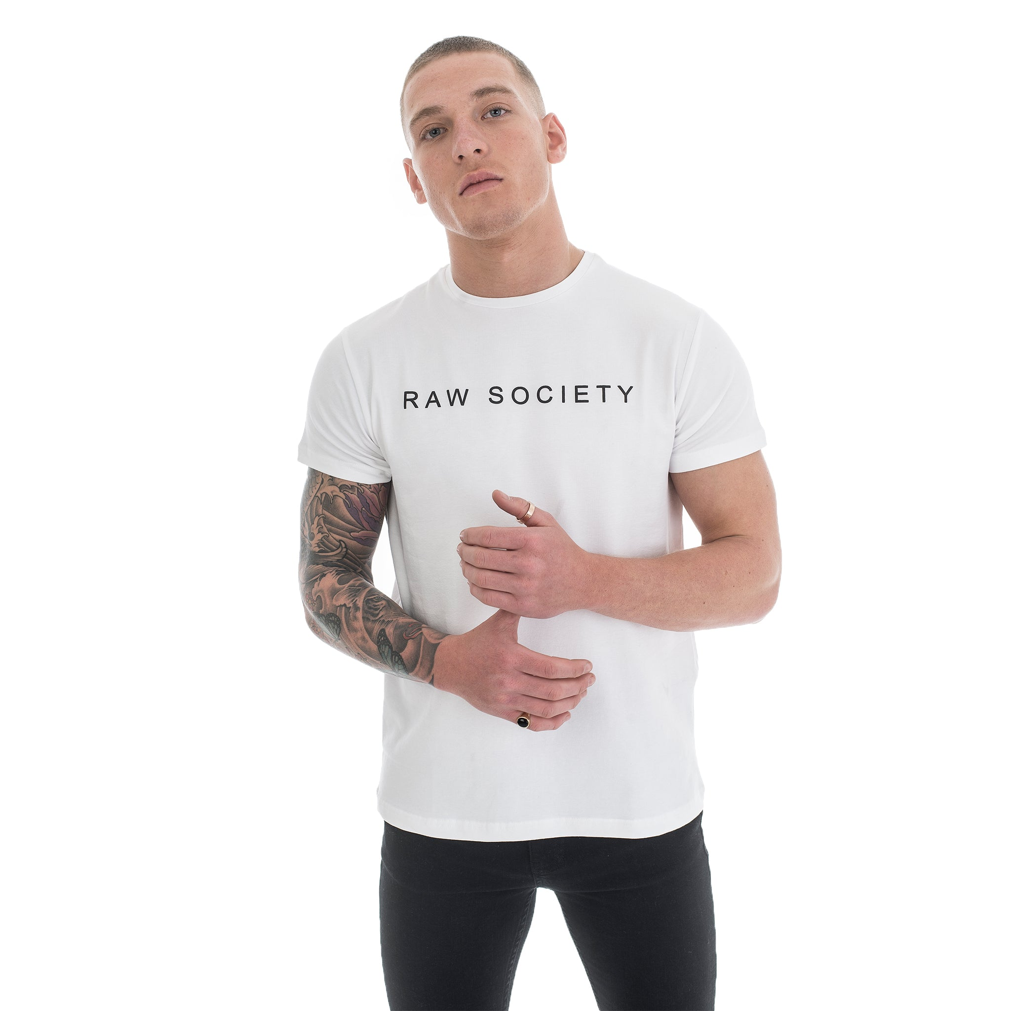 White T-Shirt - Basic Emboss Collection - Raw Society