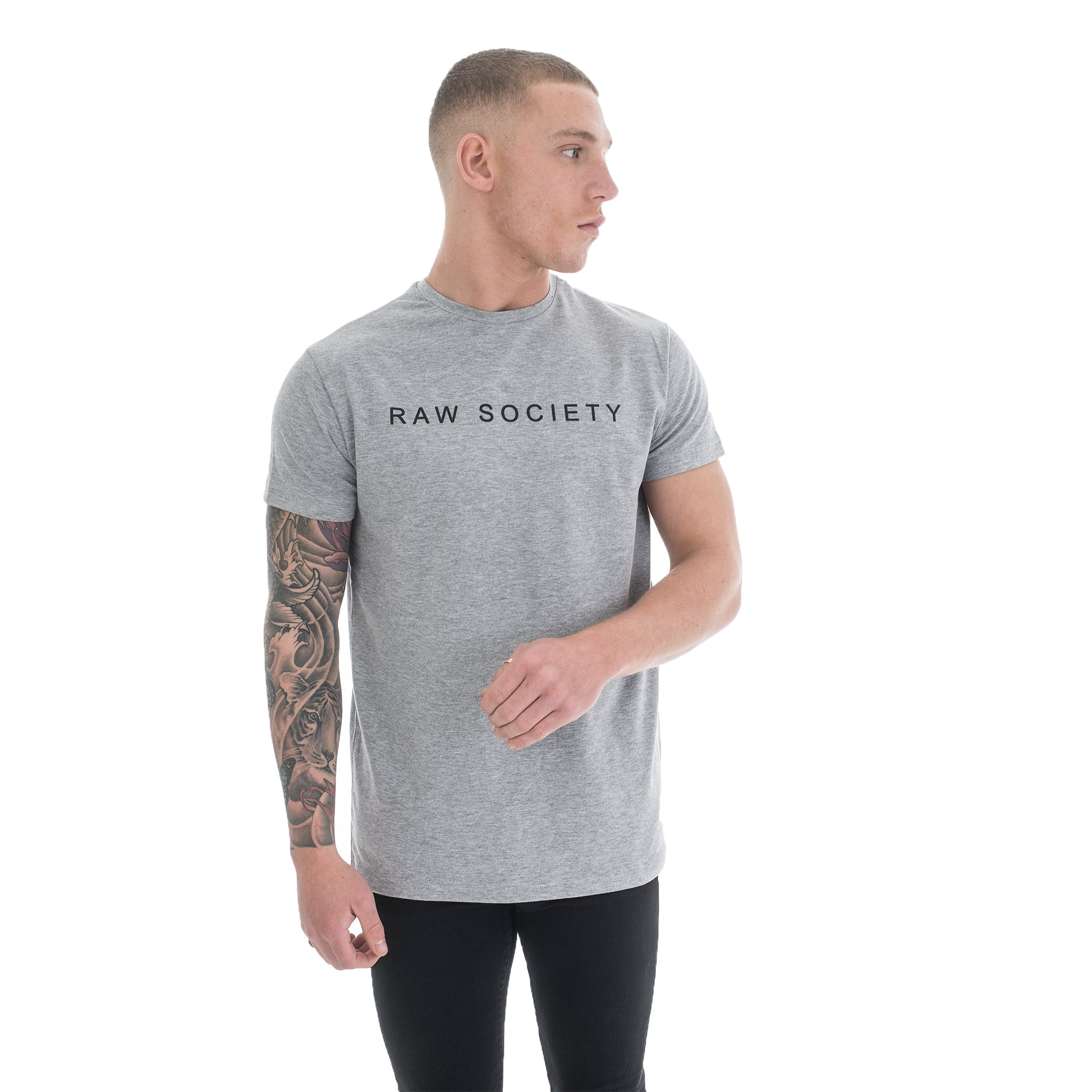 Grey T-Shirt - Basic Emboss Collection - Raw Society