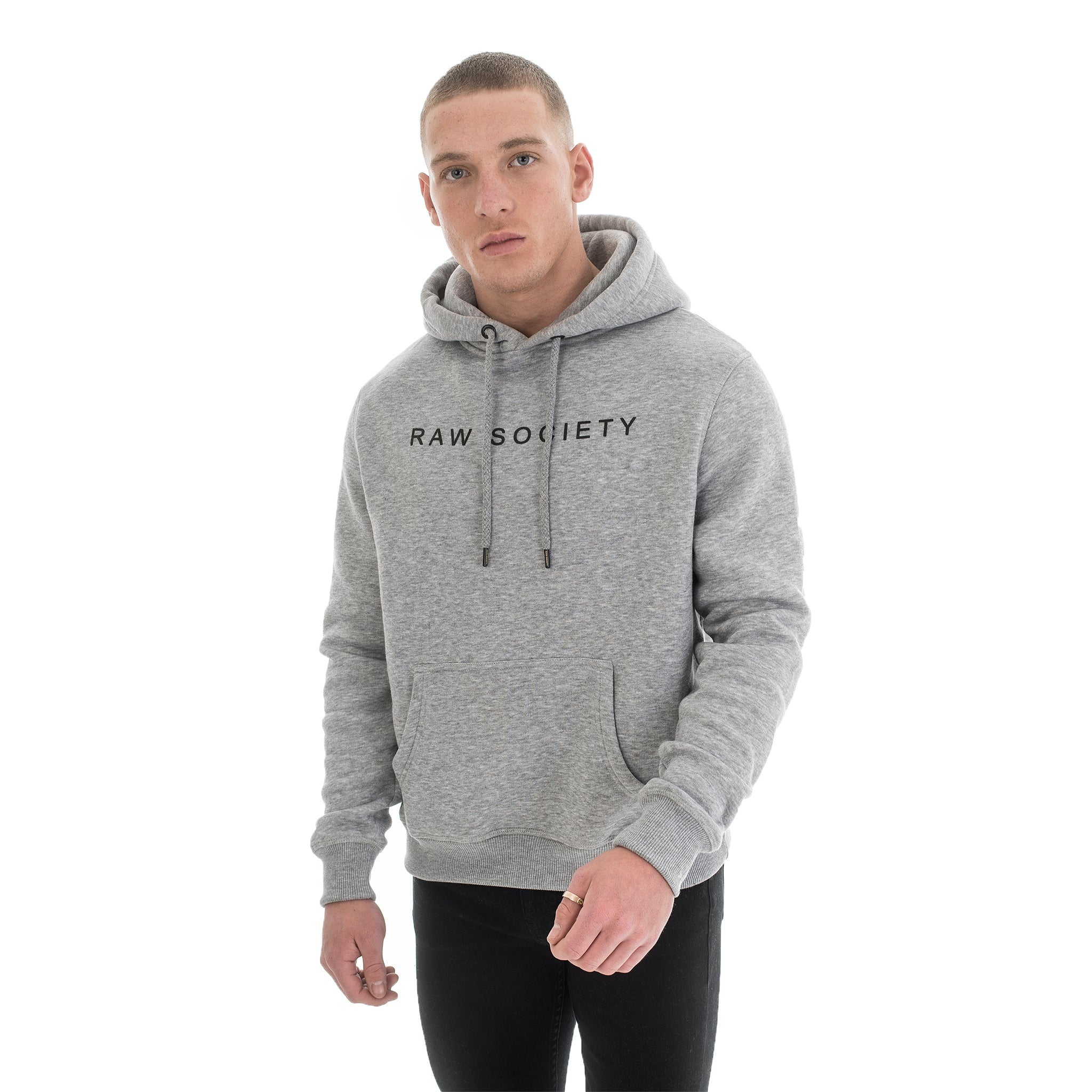 Grey Hoodie - Basic Emboss Collection - Raw Society