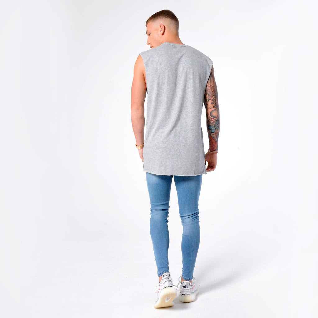 Light Blue Non Ripped - Super Stretch Spray On Skinny - Raw Society