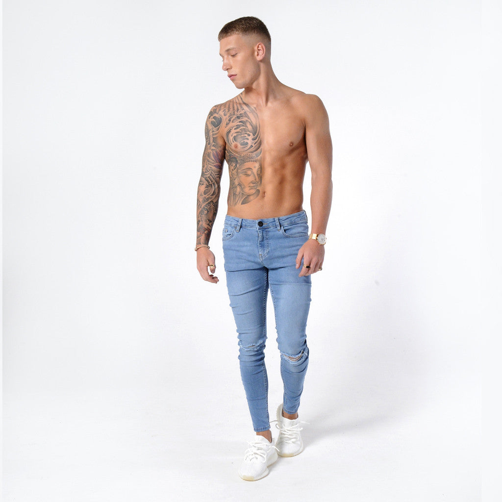 Light Blue Ripped Knee - Super Stretch Spray On Skinny - Raw Society