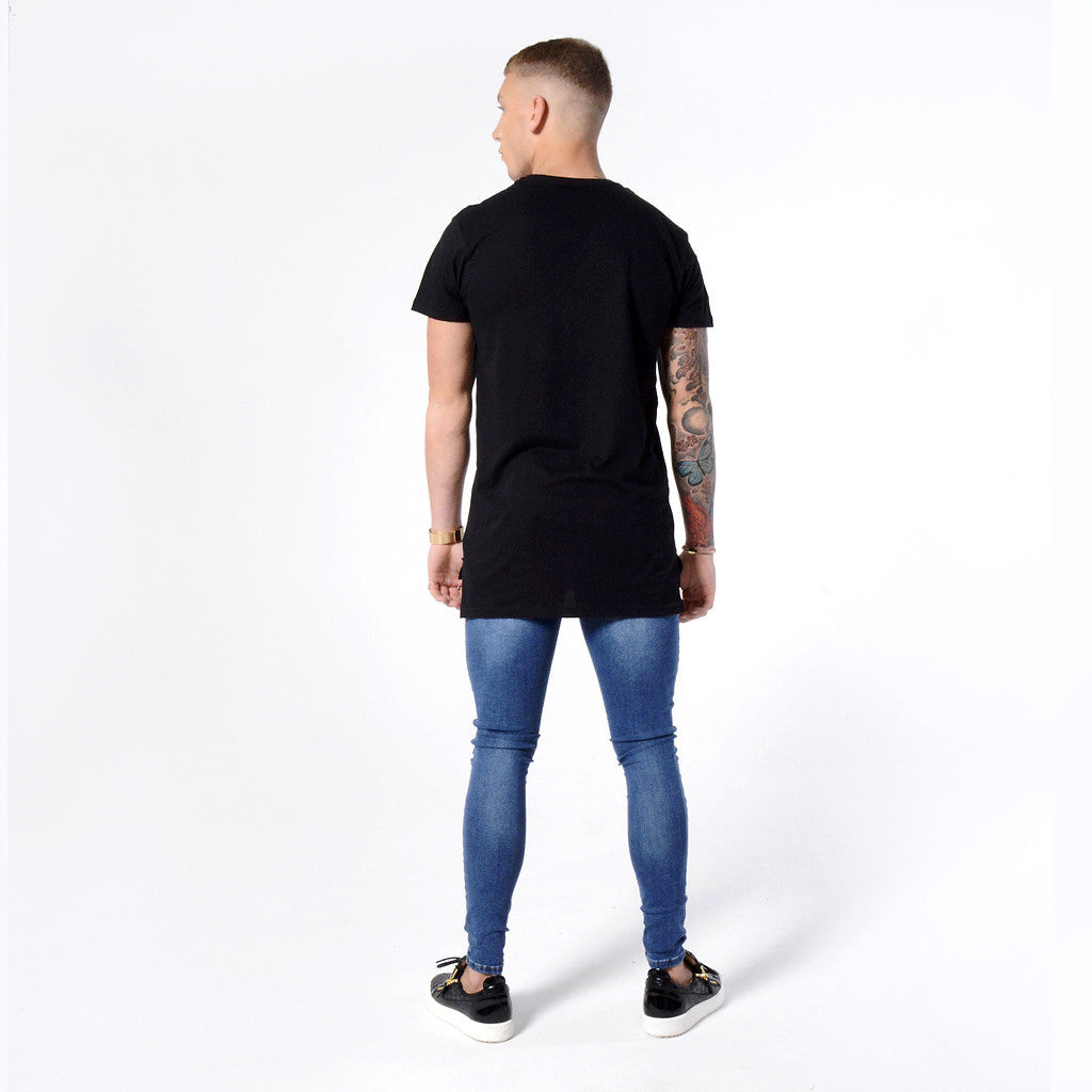 Dark Blue Non Ripped - Super Stretch Spray On Skinny - Raw Society