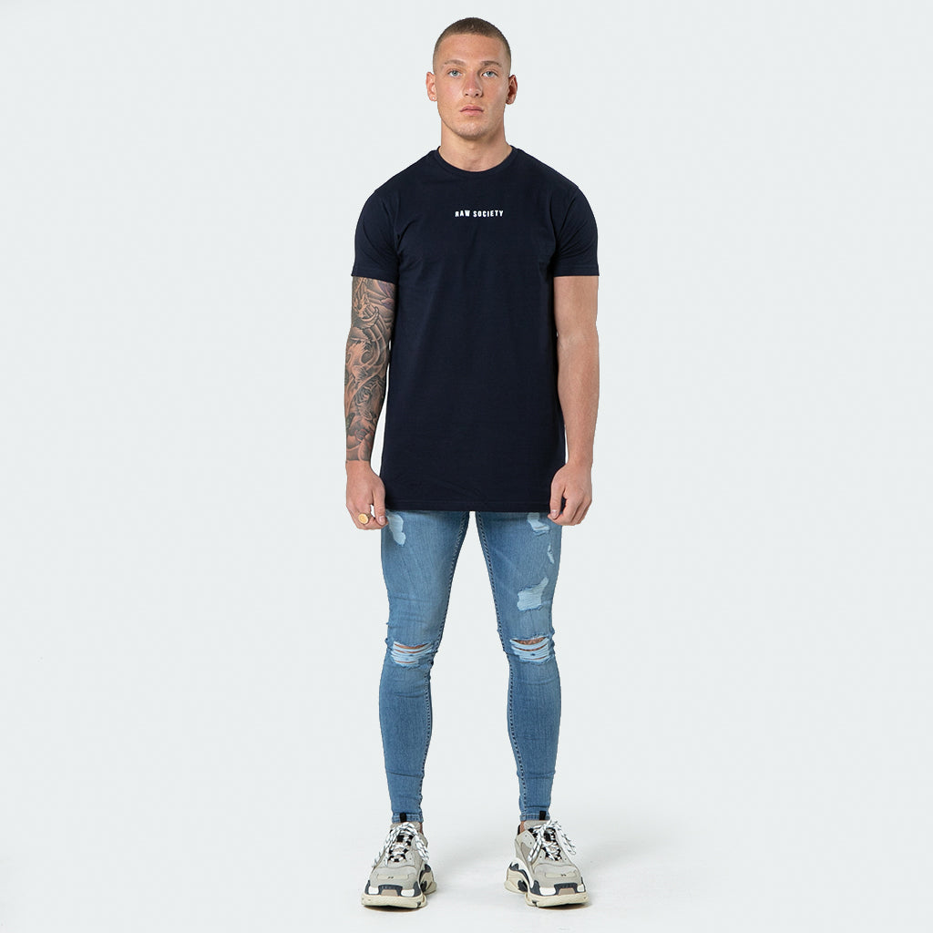 NEW Signature - Navy Short Sleeve T shirt - Raw Society