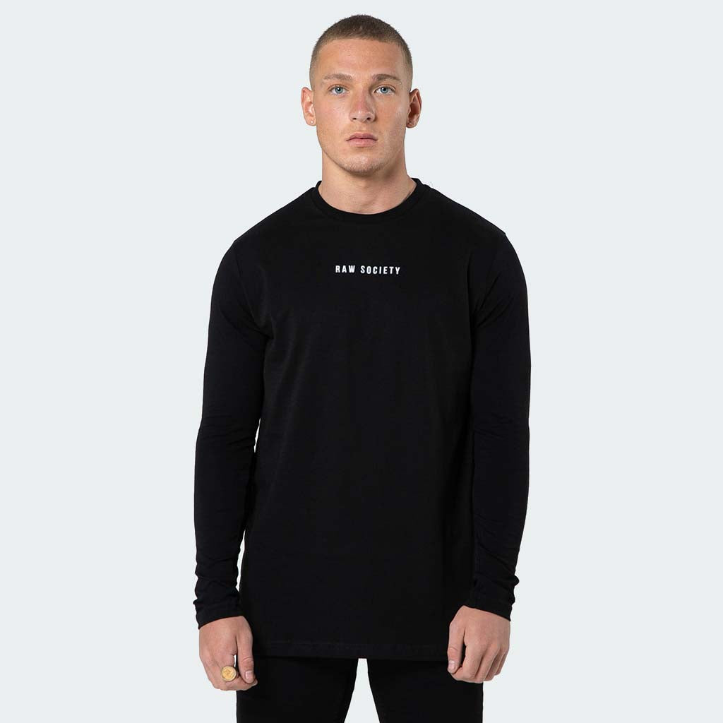 NEW Signature - Black Long Sleeve T shirt - Raw Society