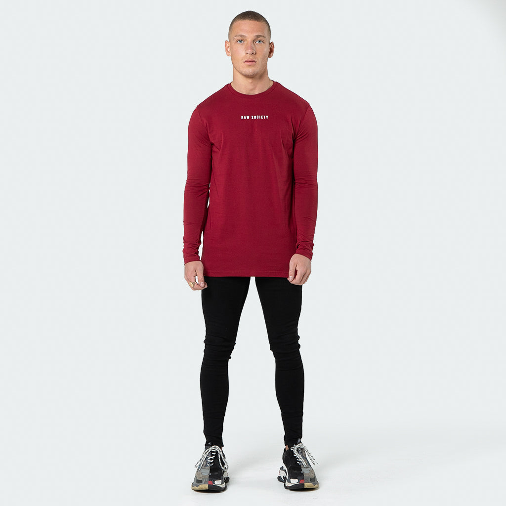 NEW Signature - Burgundy Long Sleeve T shirt - Raw Society