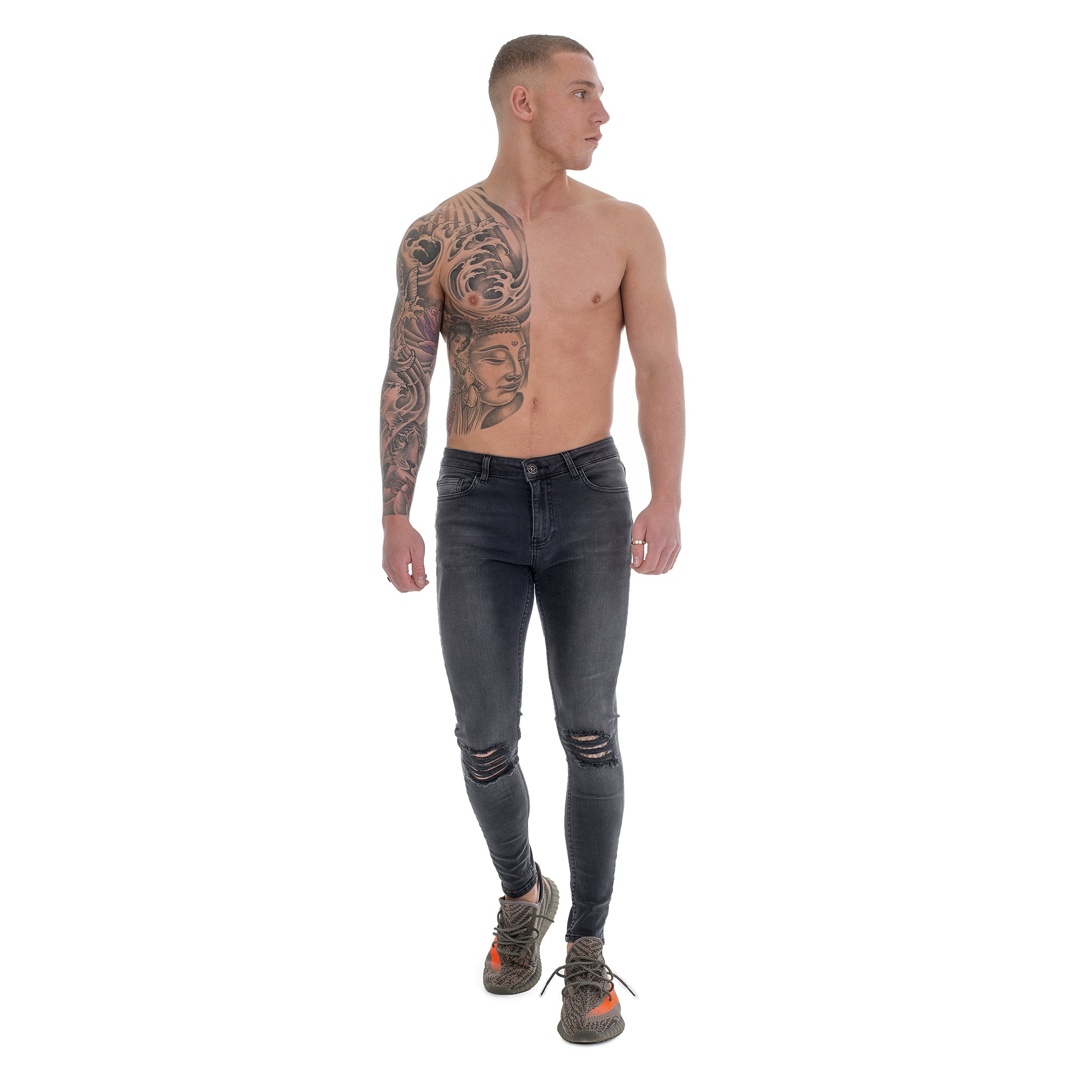 Grey Ripped Knee - Super Stretch Spray On Skinny - Raw Society