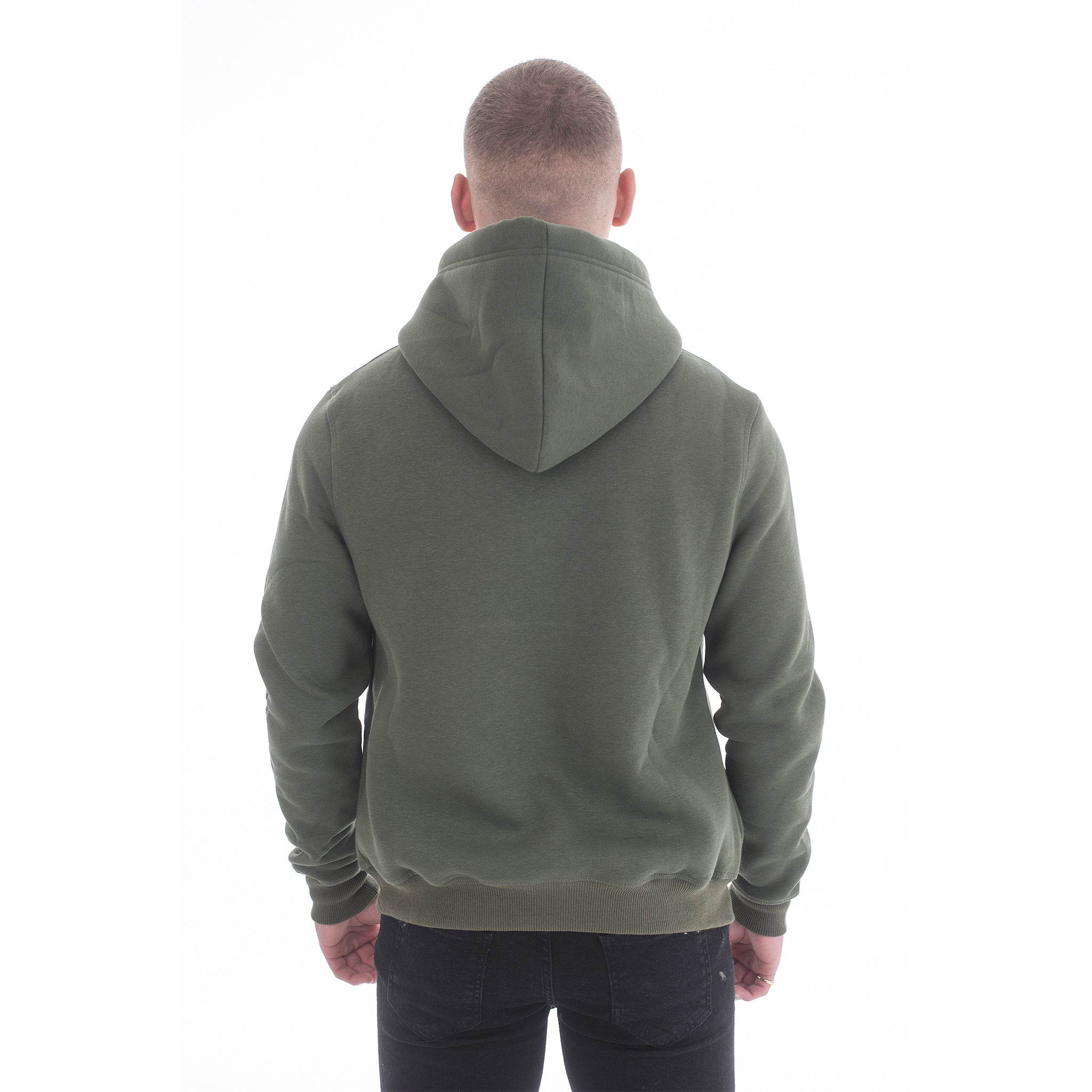 Khaki Green Hoodie - Basic Emboss Collection - Raw Society