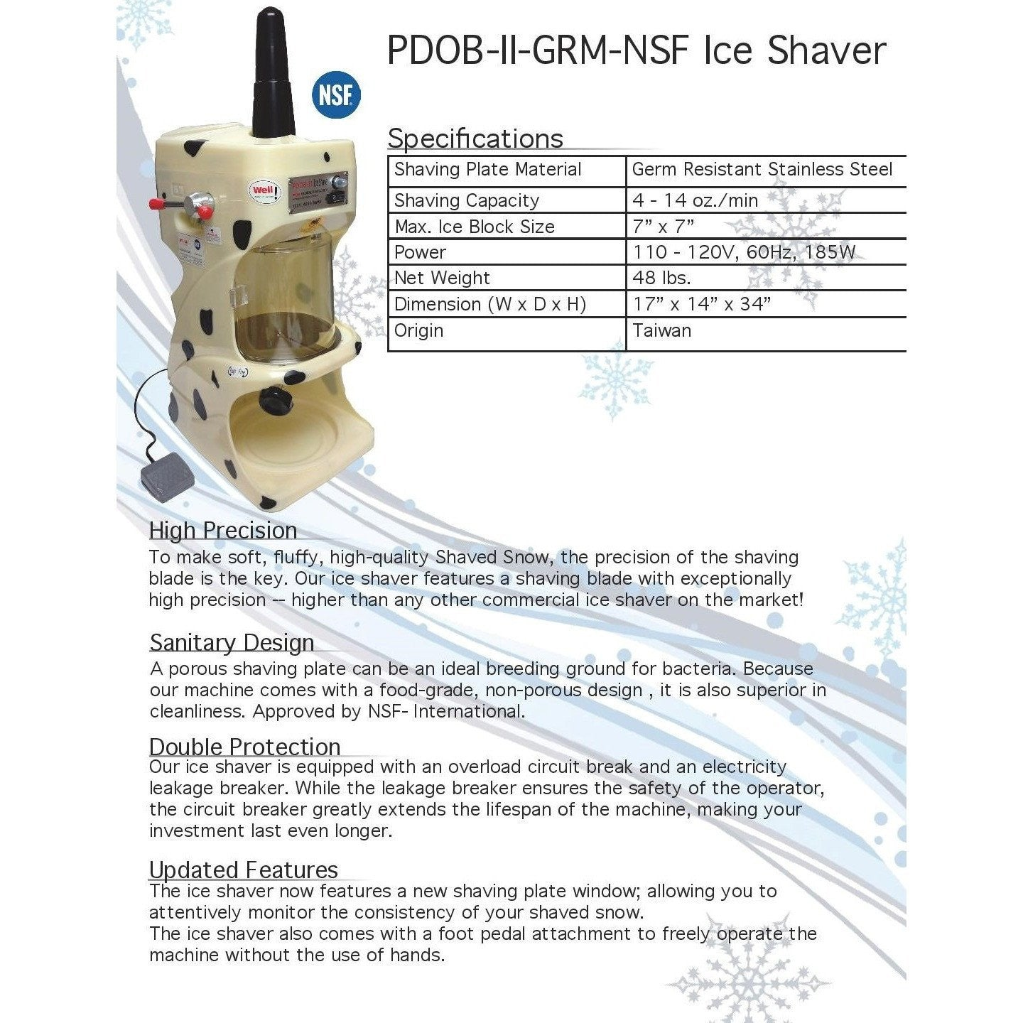 Shaved Ice Machine - PDOB-II-GRM-NSF Ice Shaver - IcySkyy