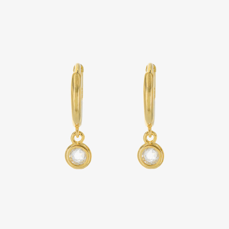 BEZEL DROP HOOP EARRINGS