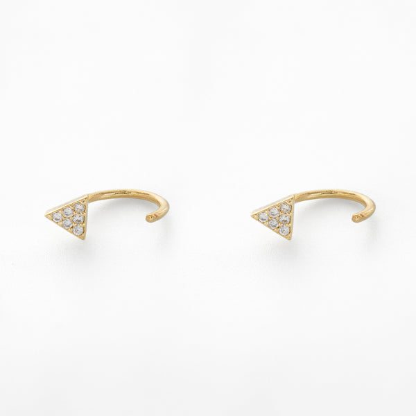 Pavé Triangle Huggie Earrings