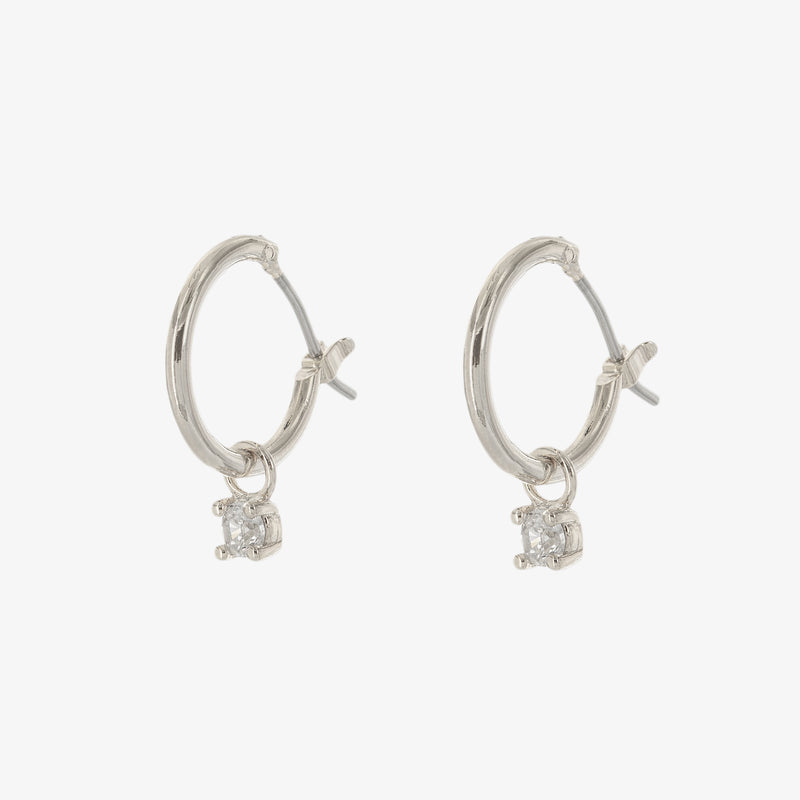 Solitaire Charm Hoop Earrings