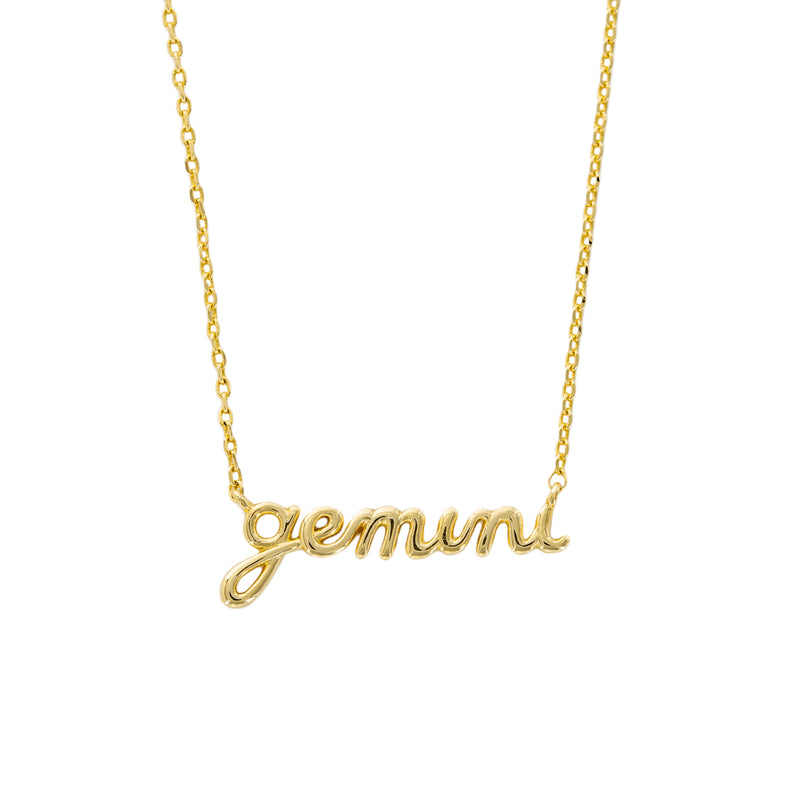 GOLD ZODIAC SCRIPT NECKLACE