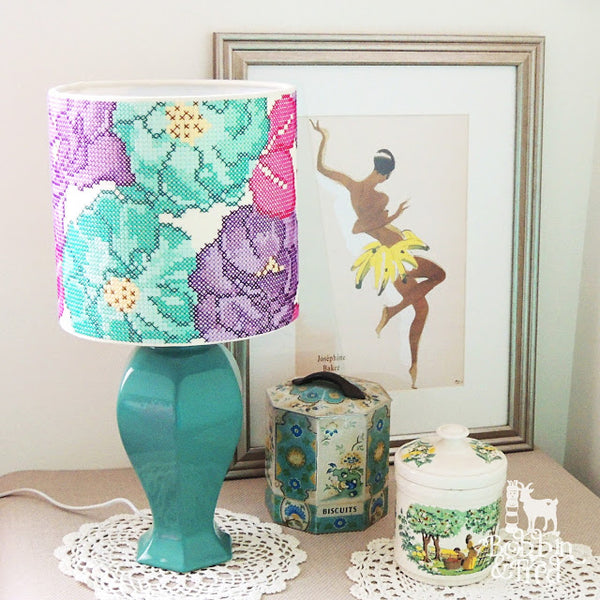 Bobbin and Fred's Rose Garden Cross Stitch Lampshade, using the 3Chooks Lampshade Making Kit