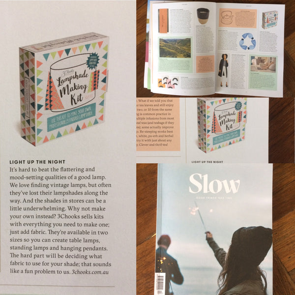 3chooks lampshade making kits featured in slow magazine