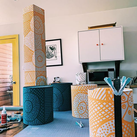 Custom lampshades for Bouddi Gallery - Tiwi Designs fabrics
