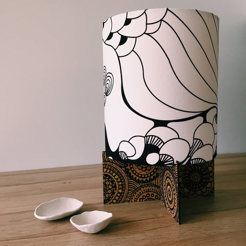Mindfulness lamp base with drawings designed by Spangle Fandangle