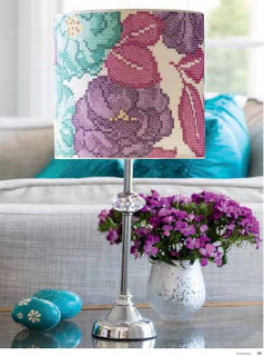 Bobbin and Fred Rose Garden Cross Stitch Lampshade