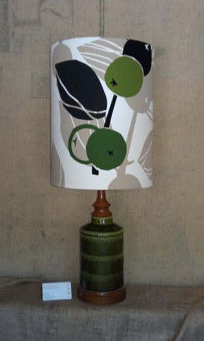 vintage base green ceramic base with olives tall lampshade