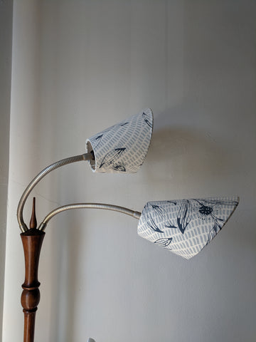 Making gooseneck lampshades - trying them on