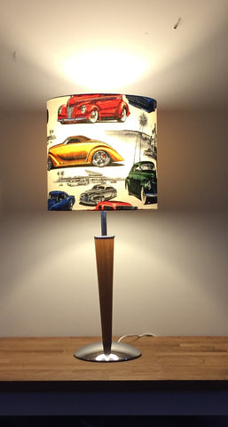 Table lamp, vintage re-imagined, vintage cars fabric, art deco, Maddie Moo Creations, 3Chooks lampshade making supplies