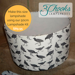 Make a 50cm diameter lampshade using 3Chooks lampshade frames and lampshade paper or styrene