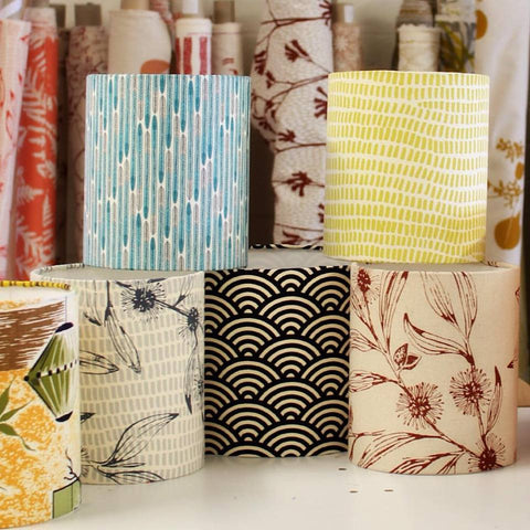Ink & Spindle fabrics made into lampshades