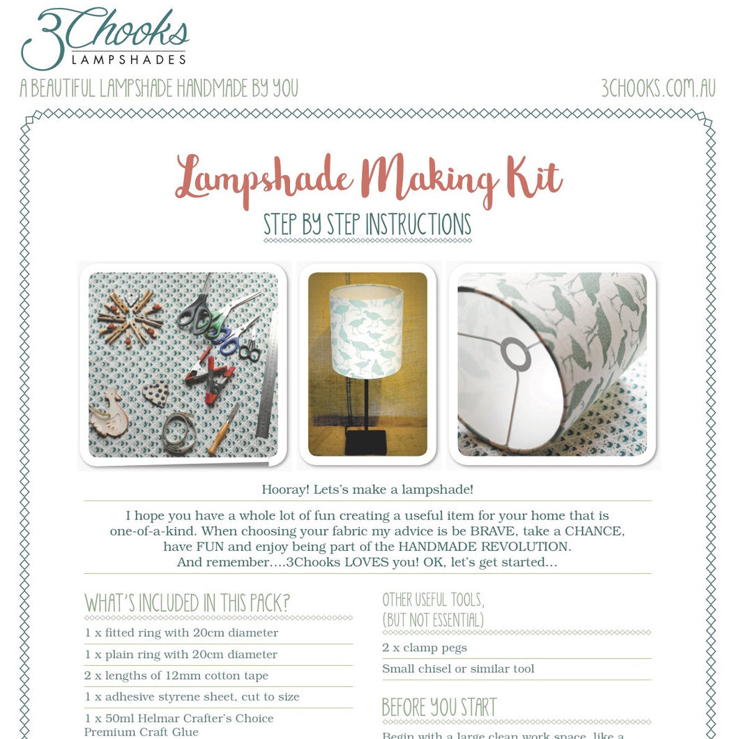 3Chooks lampshade making instructions