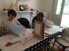 3Chooks lampshade making workshop at Sew Make Create learn how to make lamp shades