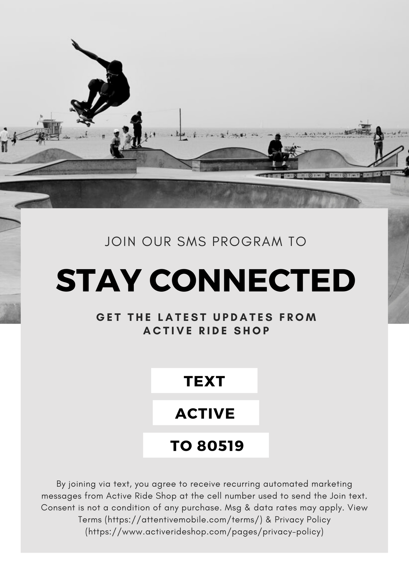Text 80519 to join Active Ride Shops Text Program