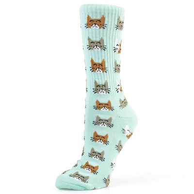 Womens Kitty Crew Socks