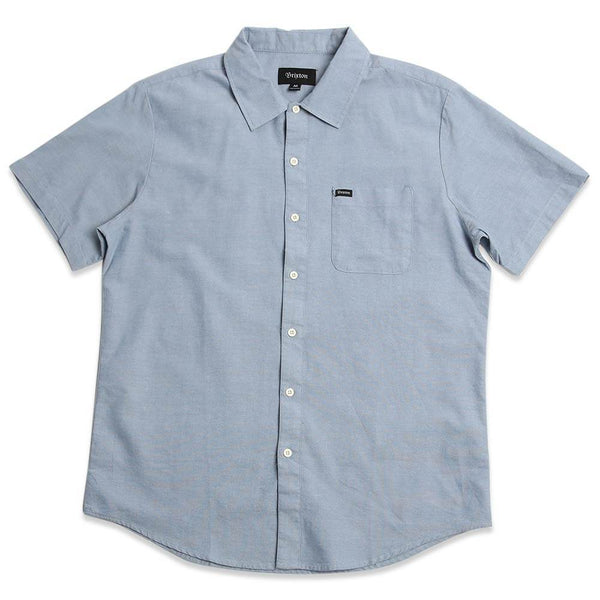 Front view of the Men's Brixton Charter Oxford Short Sleeve Woven in light blue with light colored buttons and a small RVCA woven label on left chest side