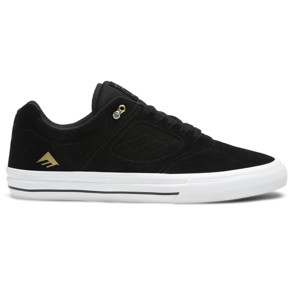 Men's Emerica Reynolds 3 G6 Vulc Shoe The Emerica Reynolds G6 is inspired by the iconic pro models of Andrew Reynolds past and Features a true cupsole with a  pour-in  G6 polyurethane midsole.The toecap has a double-double sided layer of hot melt that bonds the panels together, and has a preforated lycra-spandex tongue with a padded collar and a triangle tread pattern and a diamond bling at the top eyelet. Men's Emerica Reynolds 3 G6 Vulc Shoe.