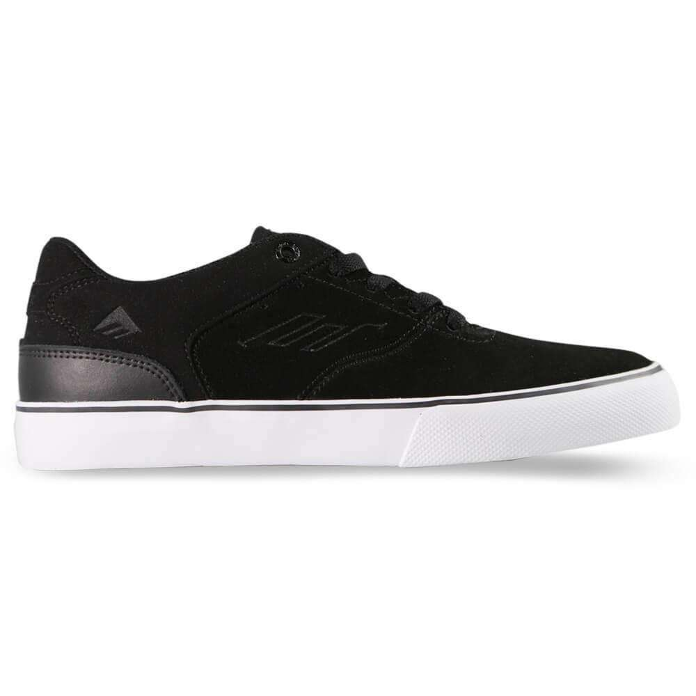 Emerica Reynolds Low Vulc Youth Shoe Kids Reynolds Low Vulc Youth Skateboarding Shoe Designed by The Boss Andrew Reynolds One piece vamp Vulcanized Construction Die Cut EVA Insole Triangle tread outsole Black Suede Extra board feel with a low profile control. Emerica Reynolds Low Vulc Youth Shoe.