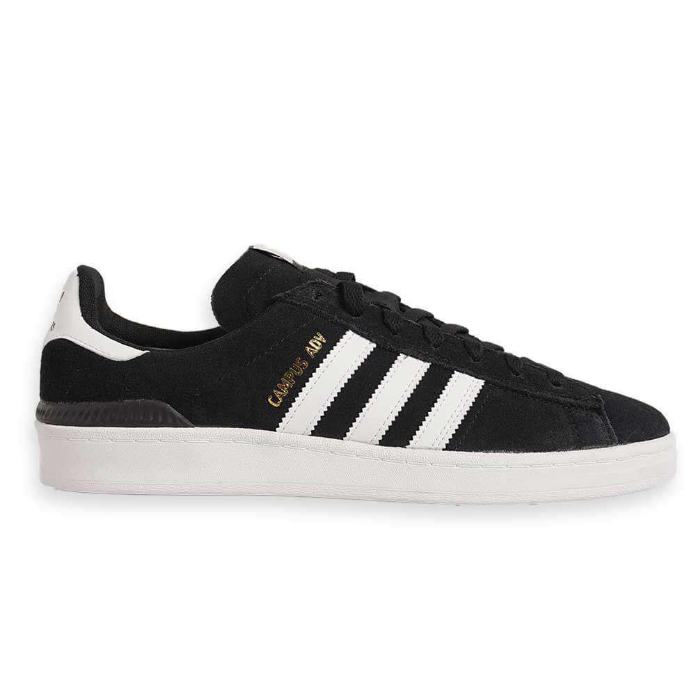 Men's Adidas Campus Adv Shoe Adidas Skateboarding Campus Adv Shoe Black & white colorway with gold accents Low profile Regular fit Lace closure Suede upper with double-layer ollie zone Geoflex rubber outsole Geofit padded collar; Flexible Bounce midsole cushioning; Molded EVA sockliner. Men's Adidas Campus Adv Shoe.