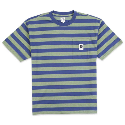 Stripe Pocket Short Sleeve Knit