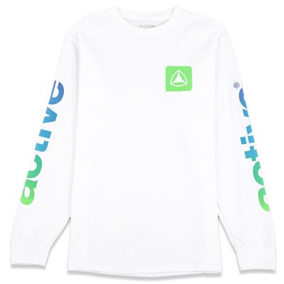 Gradient Logo Long Sleeve Tee White