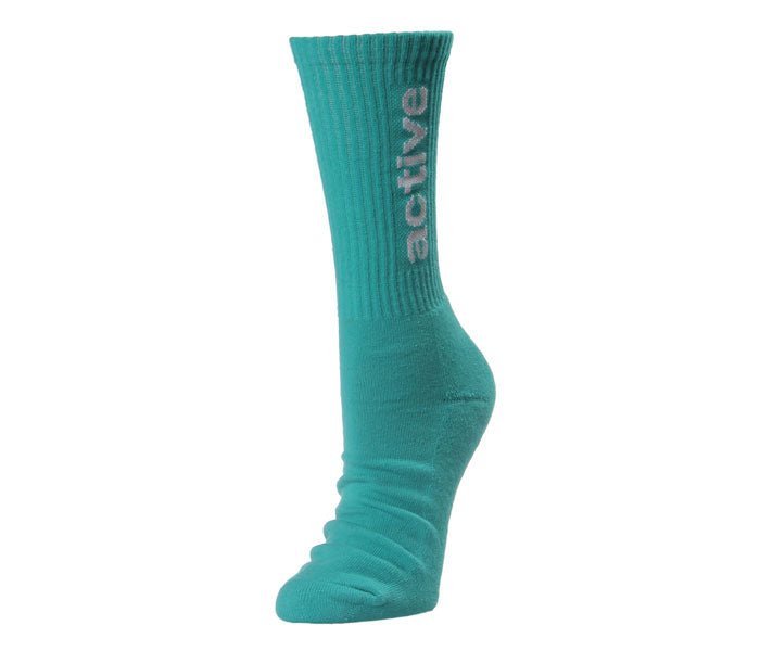 "Active Ride Shop Women's Crew Socks in teal with white ""active"" writing up the side."
