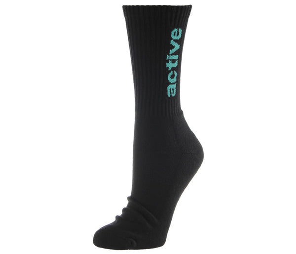 "Active Ride Shop Women's Crew Socks in white with hot pink ""active"" writing up the side."