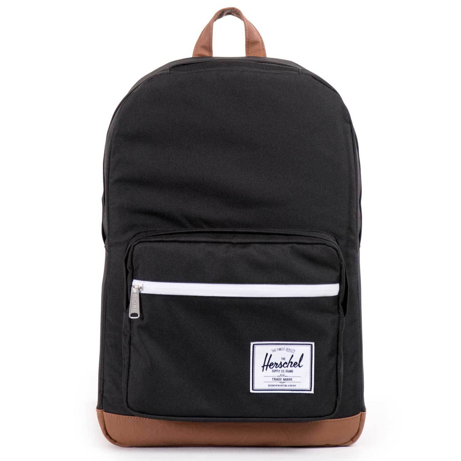 Men's Herschel Supply Co Pop Quiz Backpack The Herschel Supply Pop Quiz is one of their most popular backpack silhouettes. It's multiple storage pockets and organizers cater to all your work or school needs while staying true to the Hershel Supply signature style. Fully lined with their signature coated cotton poly fabric. Fully padded fleece lined 15' laptop sleeve pocket. Front pocket with internal mesh organizers and key clip. Waterproof zipper detail. Reinforced bottom. Fleece lined sunglasses pocket. Internal media pocket. Men's Herschel Supply Co Pop Quiz Backpack.