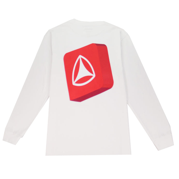 3D Box Icon Long Sleeve T-Shirt - White